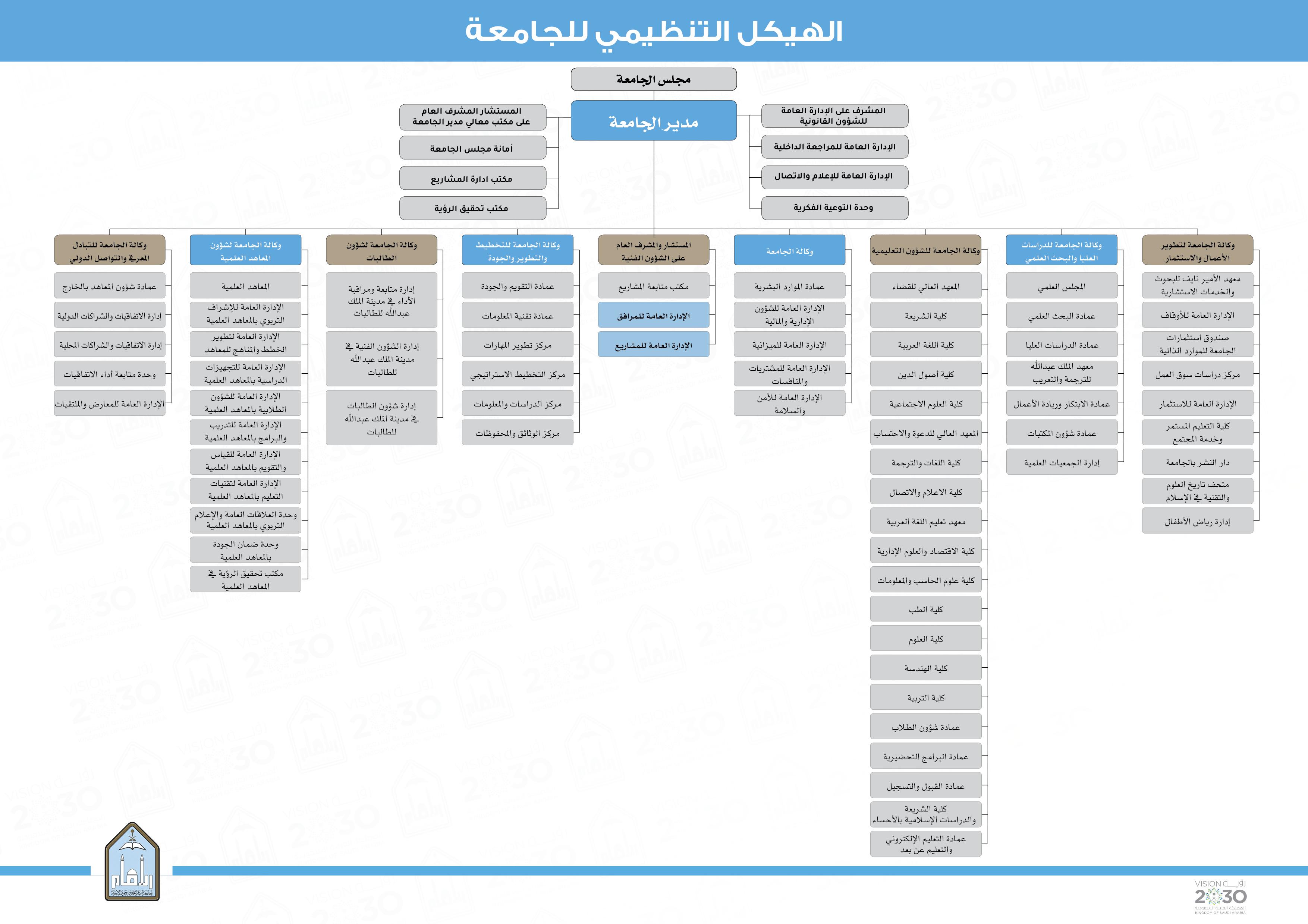 الهيكل التنظيمي للجامعة