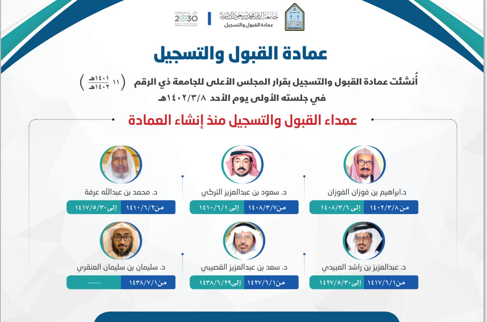 تقرير عن عمادة القبول والتسجيل بجامعة الإمام محمد بن سعود الإسلامية
